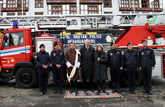 Teaserbild der Einsatzmeldung: Ausgemusterte Drehleiter in Bhutan eingetroffen